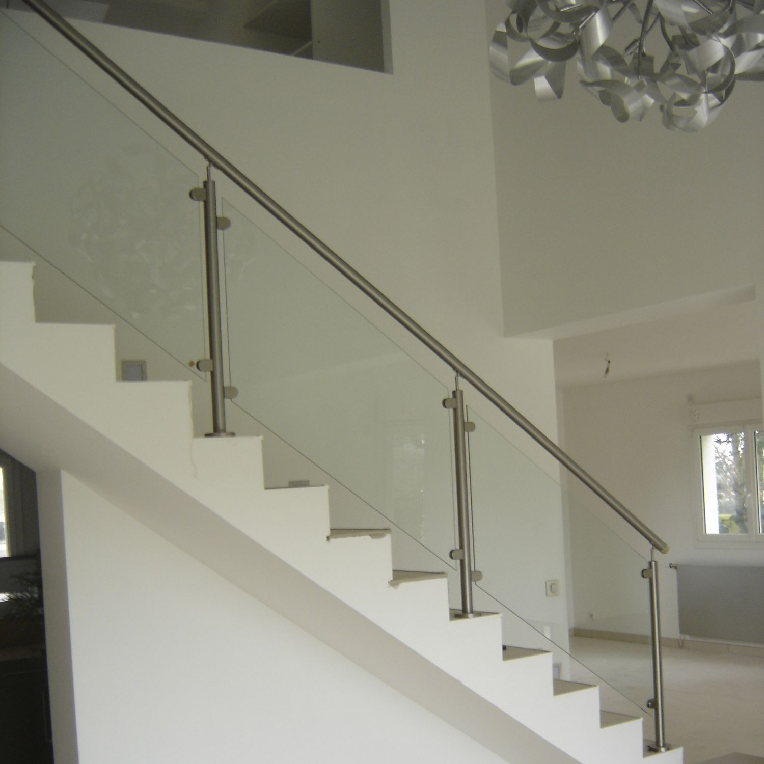 Stainless steel railing / glass panel / indoor / for stairs ...