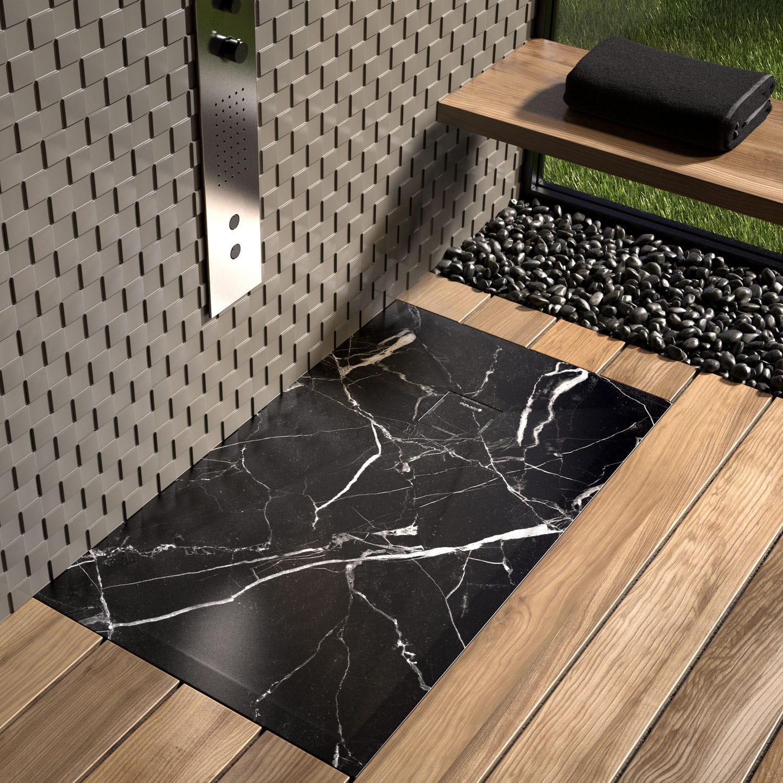 Rectangular shower tray / resin / non-slip - STONE 3D BLACK MARBLE ...