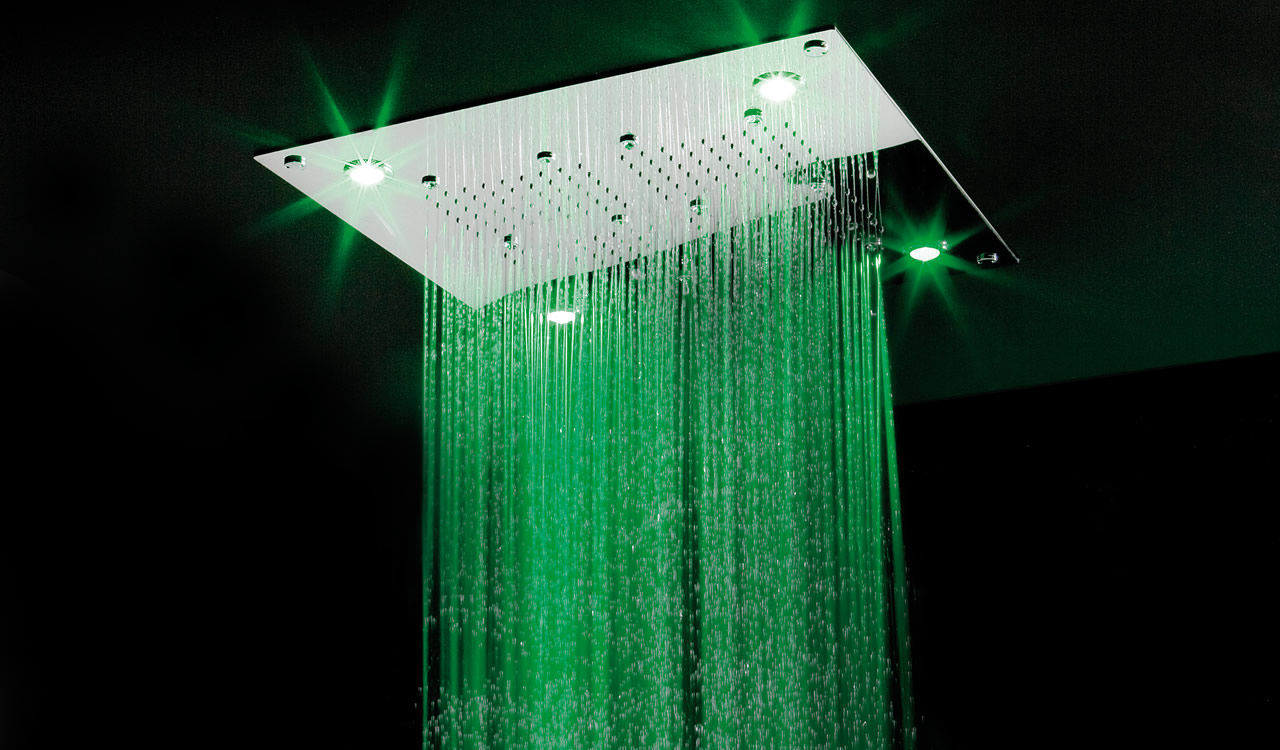 Recessed ceiling shower head / square / rain / with chromotherapy ...