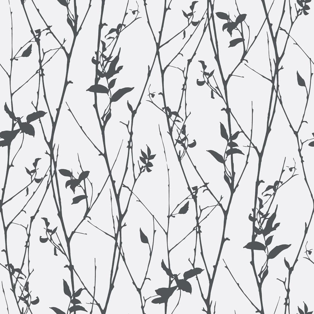 Contemporary Wallpaper Nature Pattern White Black Spring