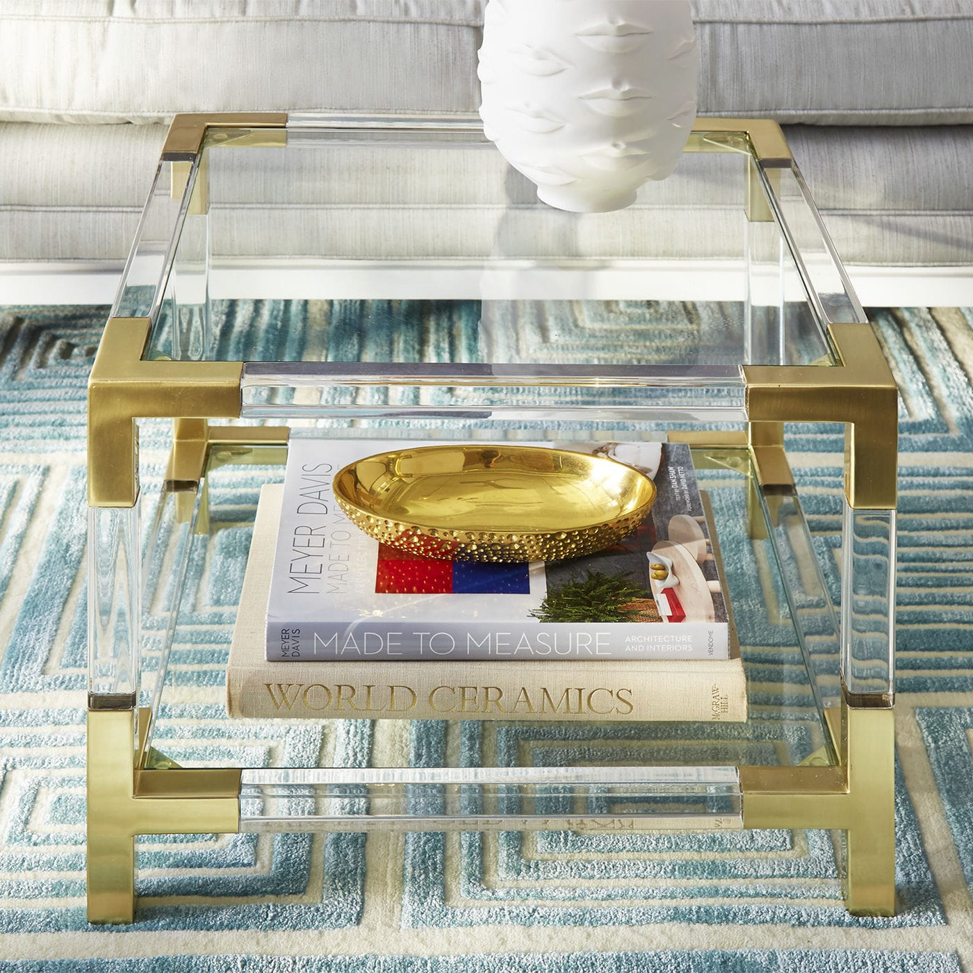 Contemporary Side Table Glass Brushed Brass Acrylic JACQUES - Two tier glass side table