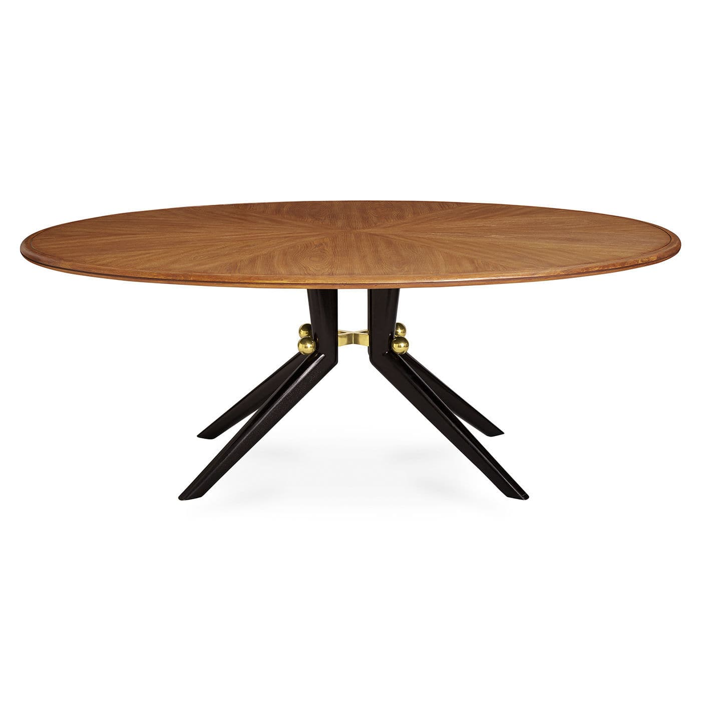 Contemporary Dining Table Solid Wood Veneer Brass