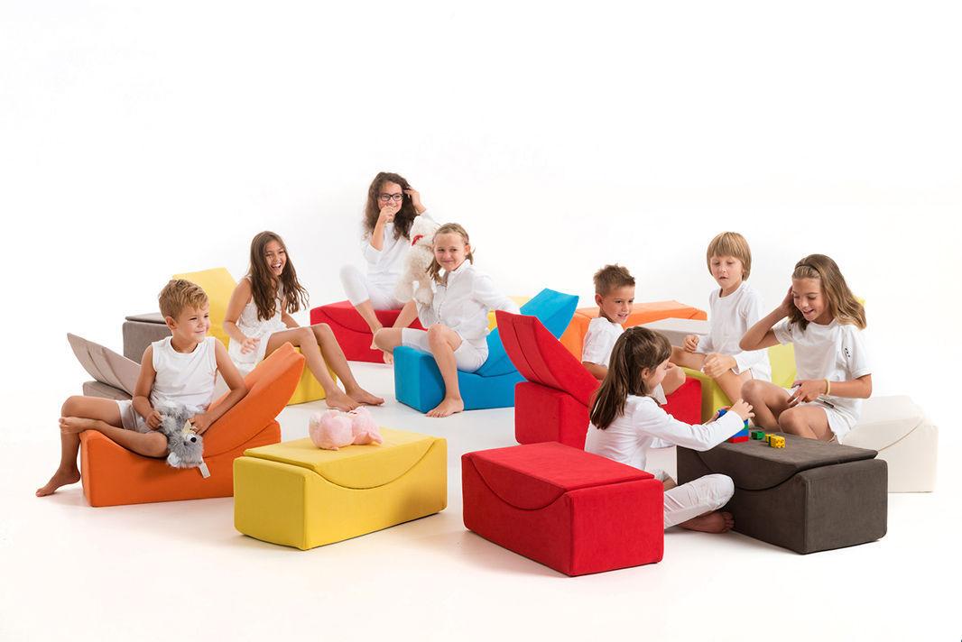 Modular Upholstered Bench Pop Art Design Fabric Kindergarten