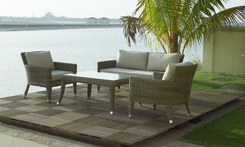 Contemporary Coffee Table Rattan Rectangular Garden ASHTON - Ashton coffee table