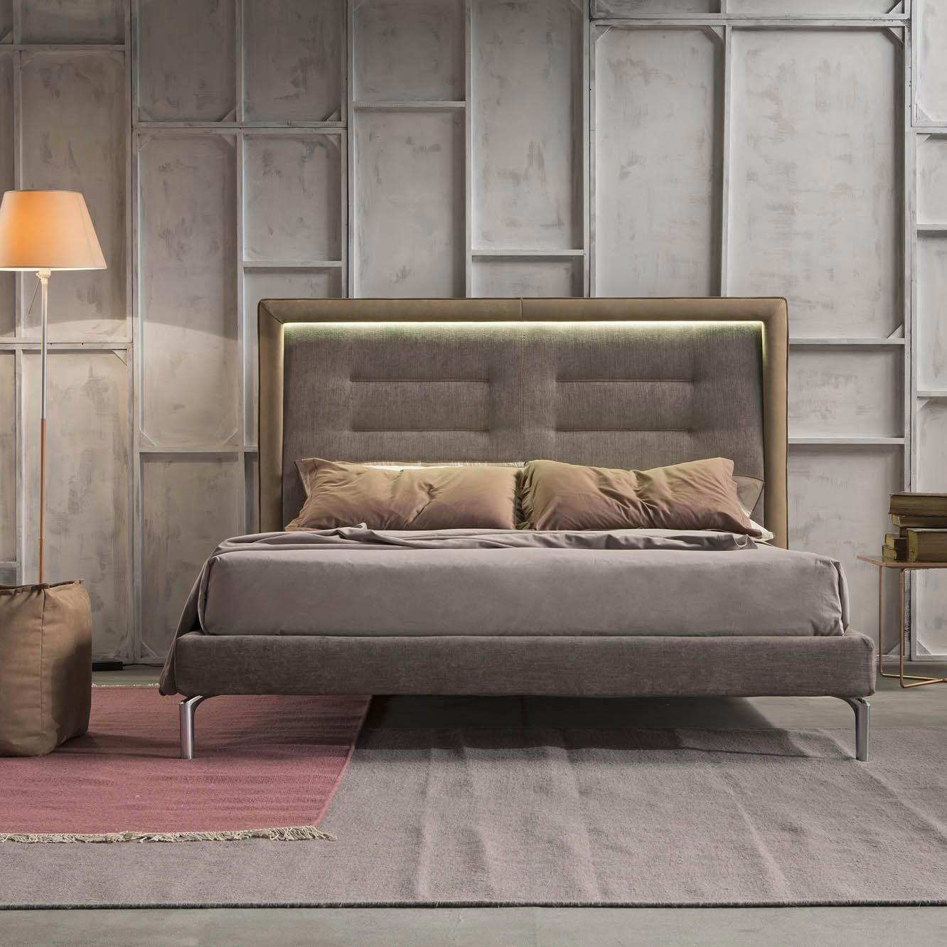 Double Bed Contemporary Upholstered With Headboard
