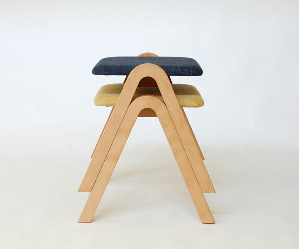 contemporary stool wooden upholstered stackable a by koizumi