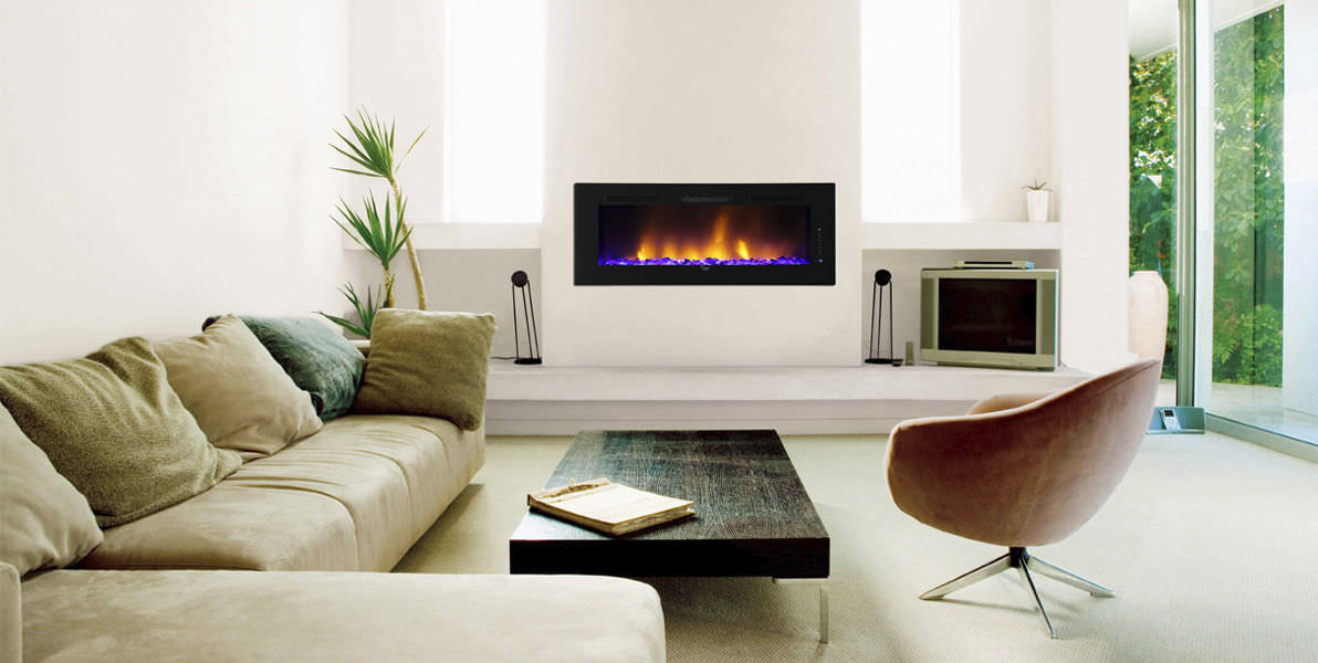 Electric fireplace / contemporary / closed hearth / built-in - SCW ...