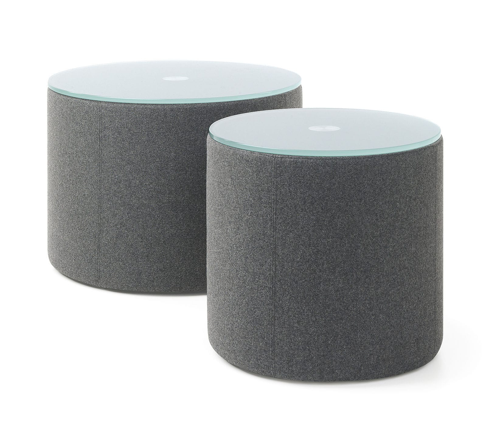 Contemporary side table glass fabric round VANCOUVER OTO