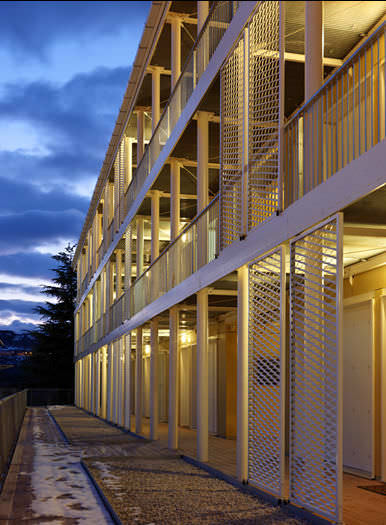 prefab house contemporary wood metal social housing ille