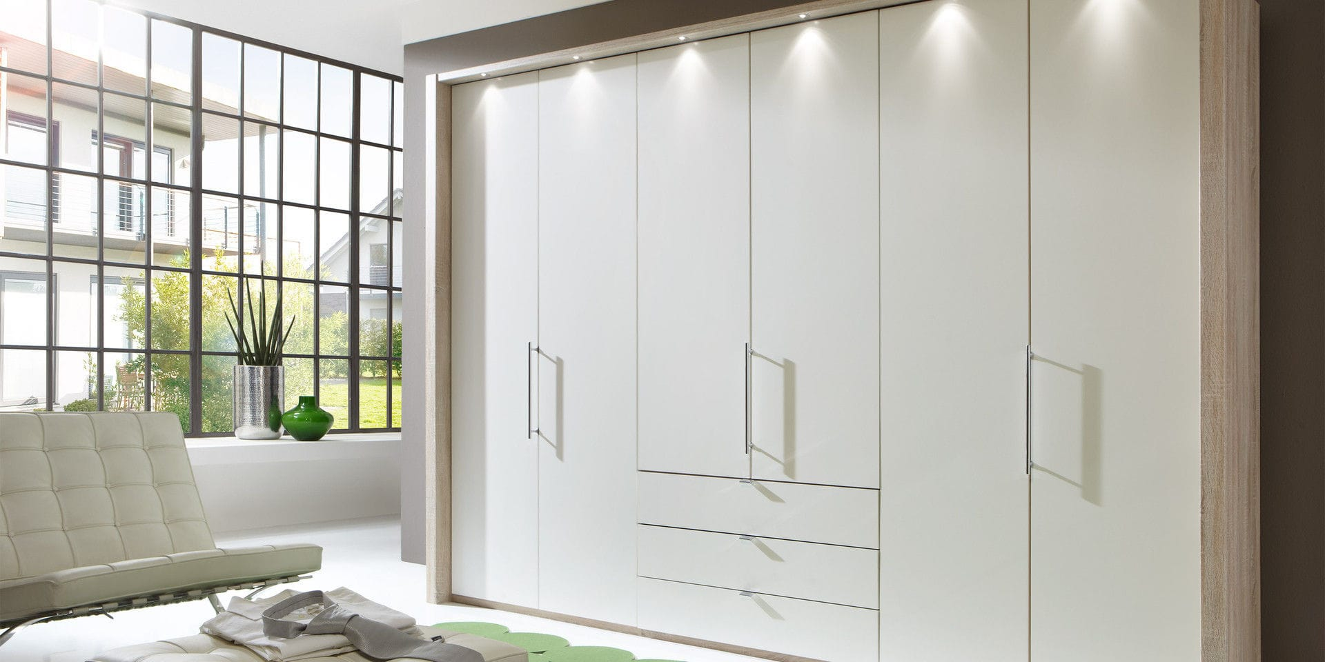 wardrobe wooden with swing doors with drawer loft wiemann