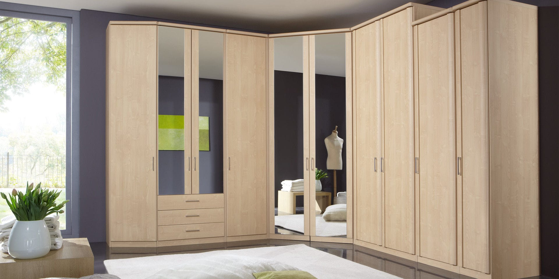 Corner Wardrobe Contemporary Wooden With Swing Doors LUXOR - Luxor schlafzimmer