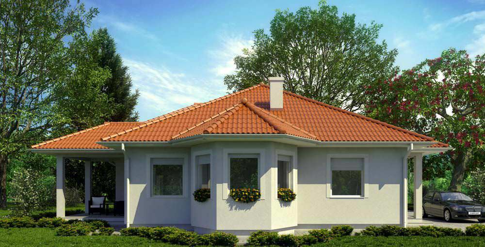 Prefab house bungalow type contemporary wooden frame LARA