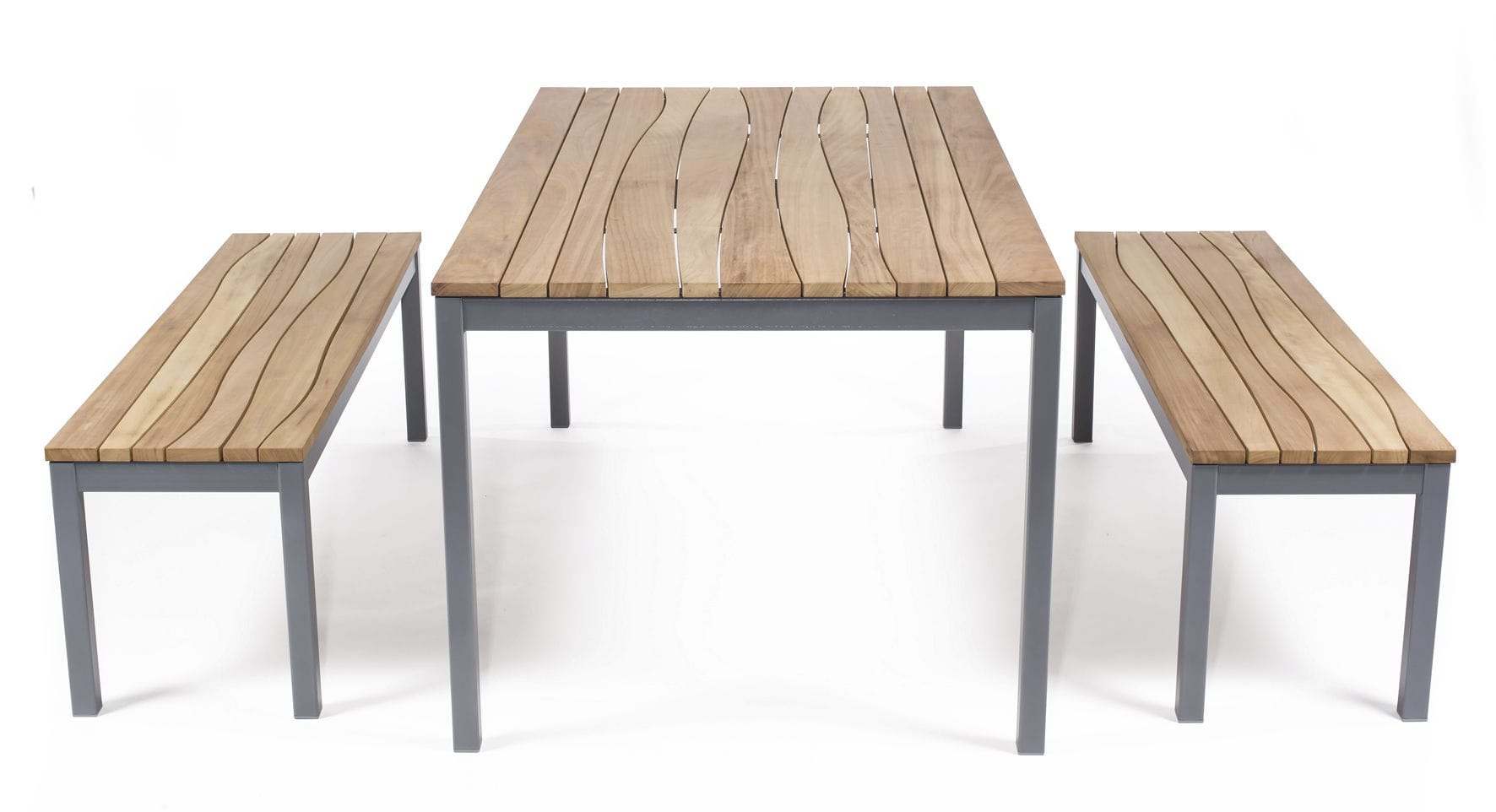Contemporary bench and table set / steel / wooden / indoor - WAVE by ...