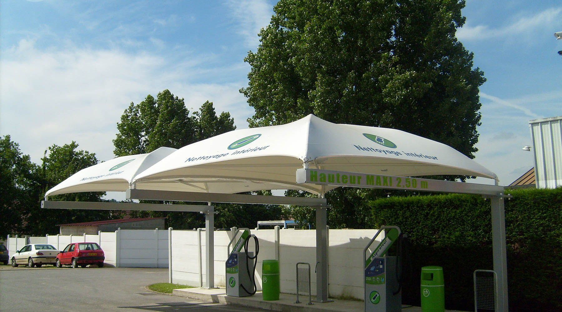 Metal frame supported tensile structure / for shelters / with PVC membrane / for public spaces - CAR WASH & Metal frame supported tensile structure / for shelters / with PVC ...