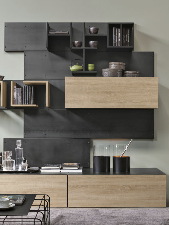 Contemporary TV wall unit / oak / metal / MDF - IRON R02 by ...