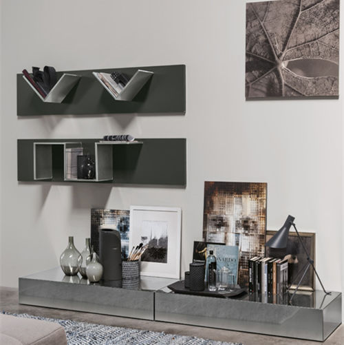 Contemporary living room wall unit wooden sheet metal steel