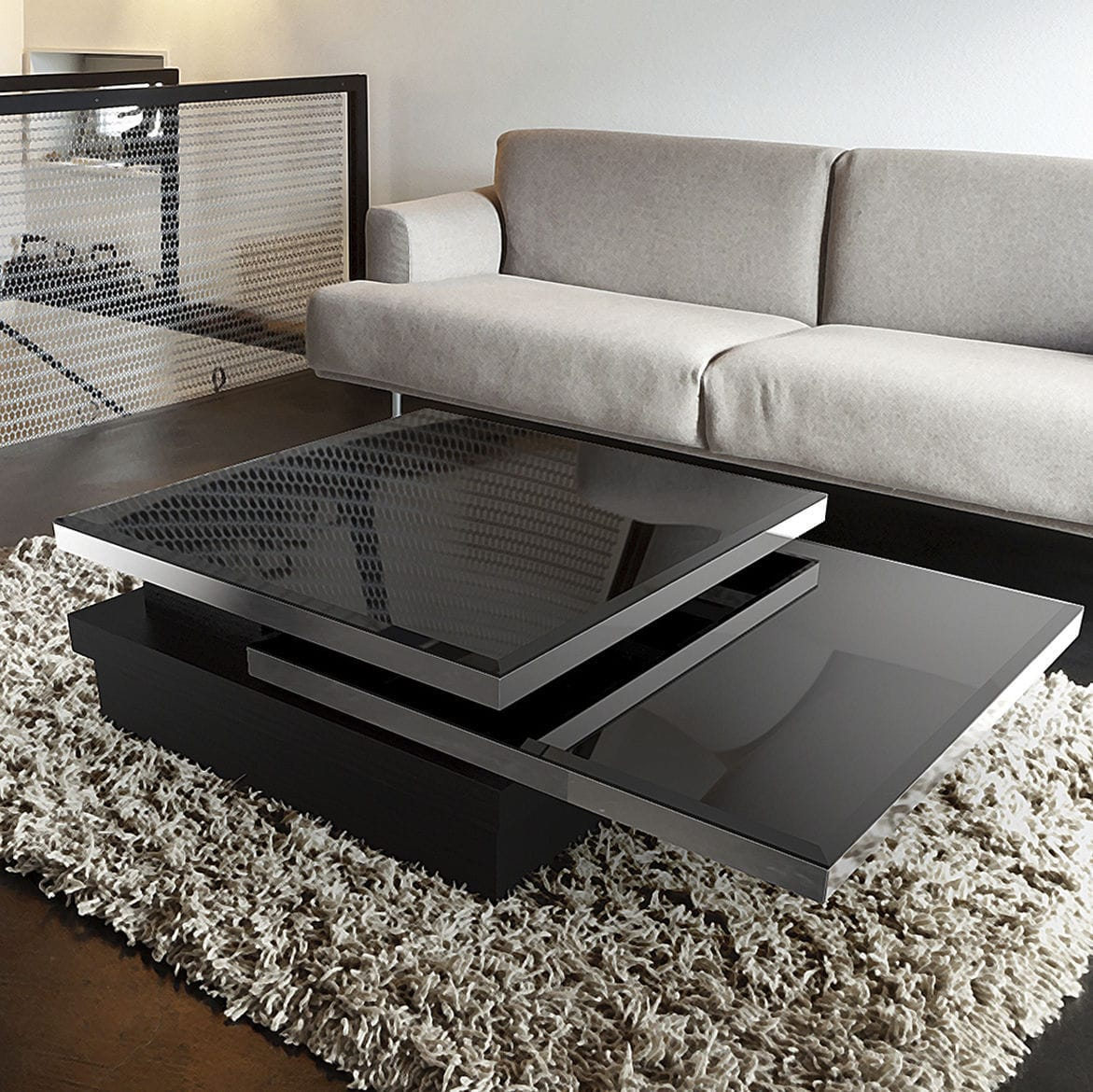contemporary coffee table  lacquered mdf  tempered glass  - contemporary coffee table  lacquered mdf  tempered glass  stainlesssteel  sigma
