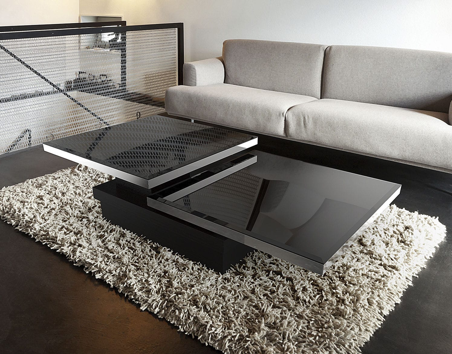 Contemporary Coffee Table Lacquered Mdf Tempered Gl Stainless Steel