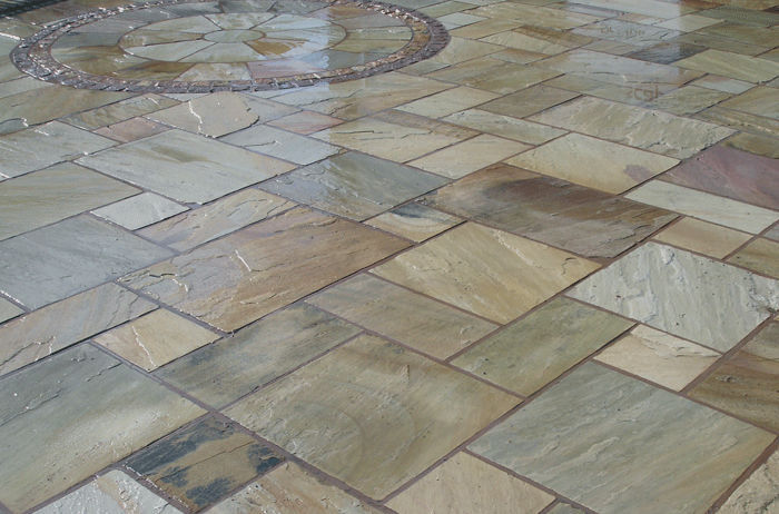 Garden tile / floor / natural stone / sandblasted - MINT FOSSIL ...