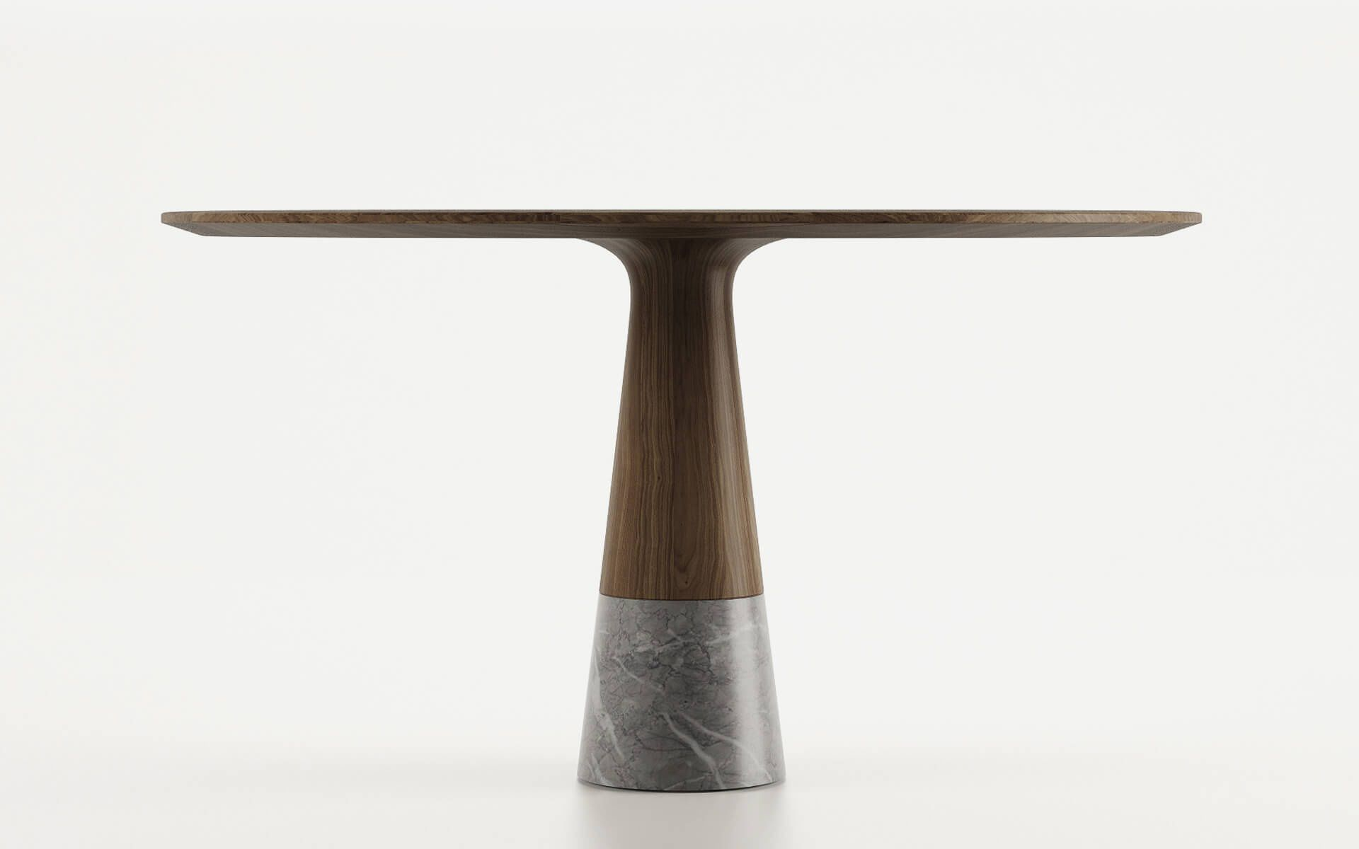 Contemporary dining table solid wood round by Christophe