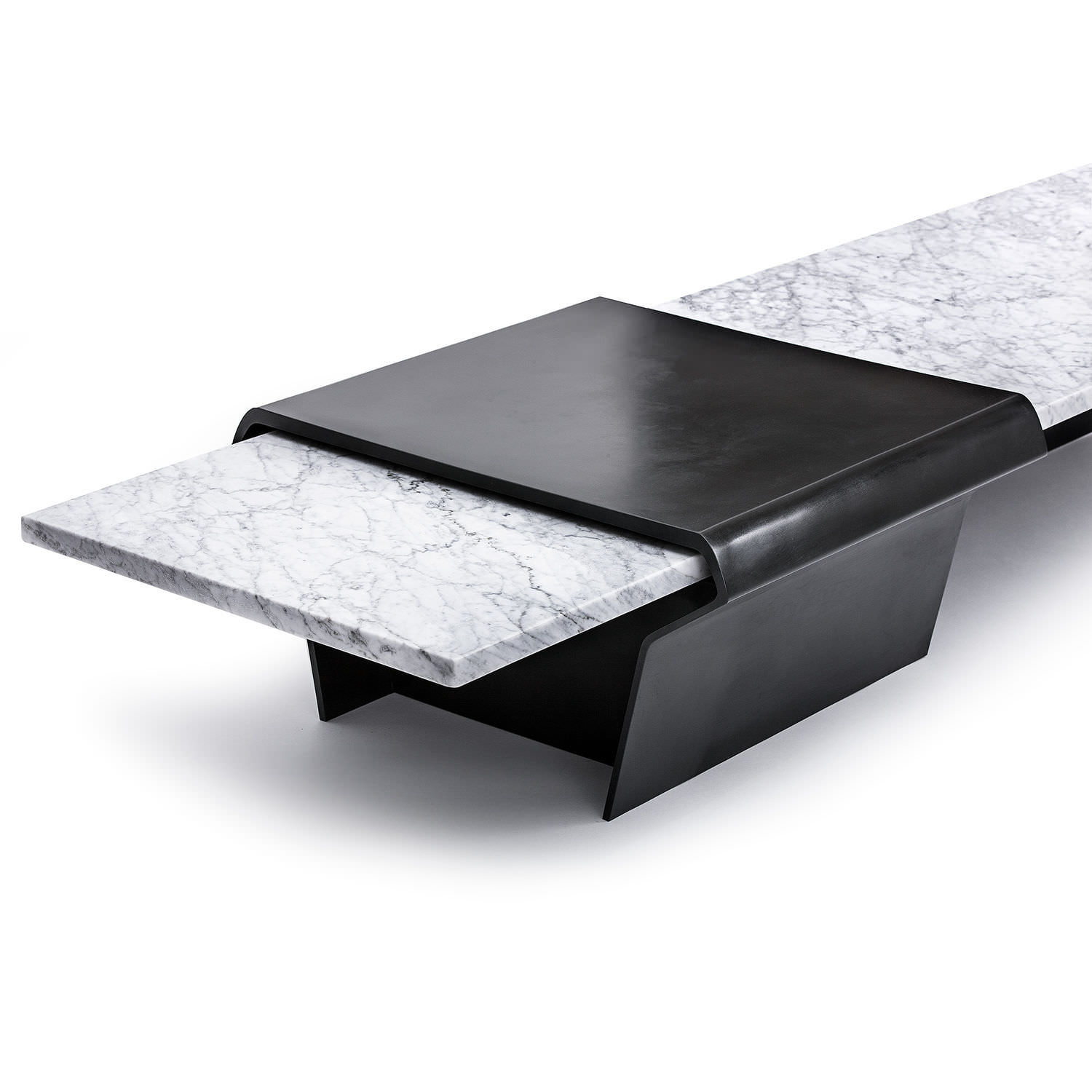 Contemporary coffee table marble bronze rectangular