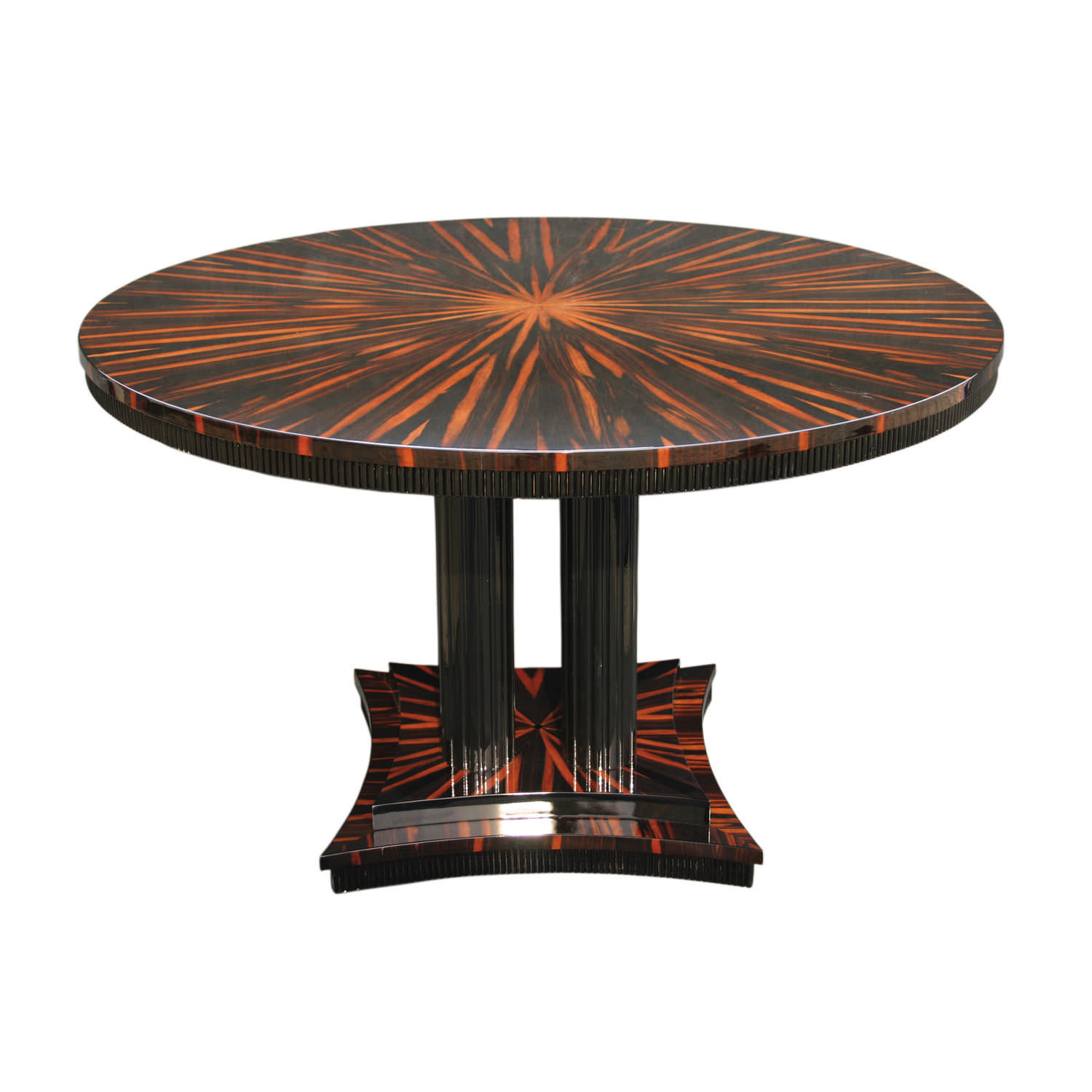 Art Deco Dining Table Wood Veneer Macassar Ebony Glossy Varnished