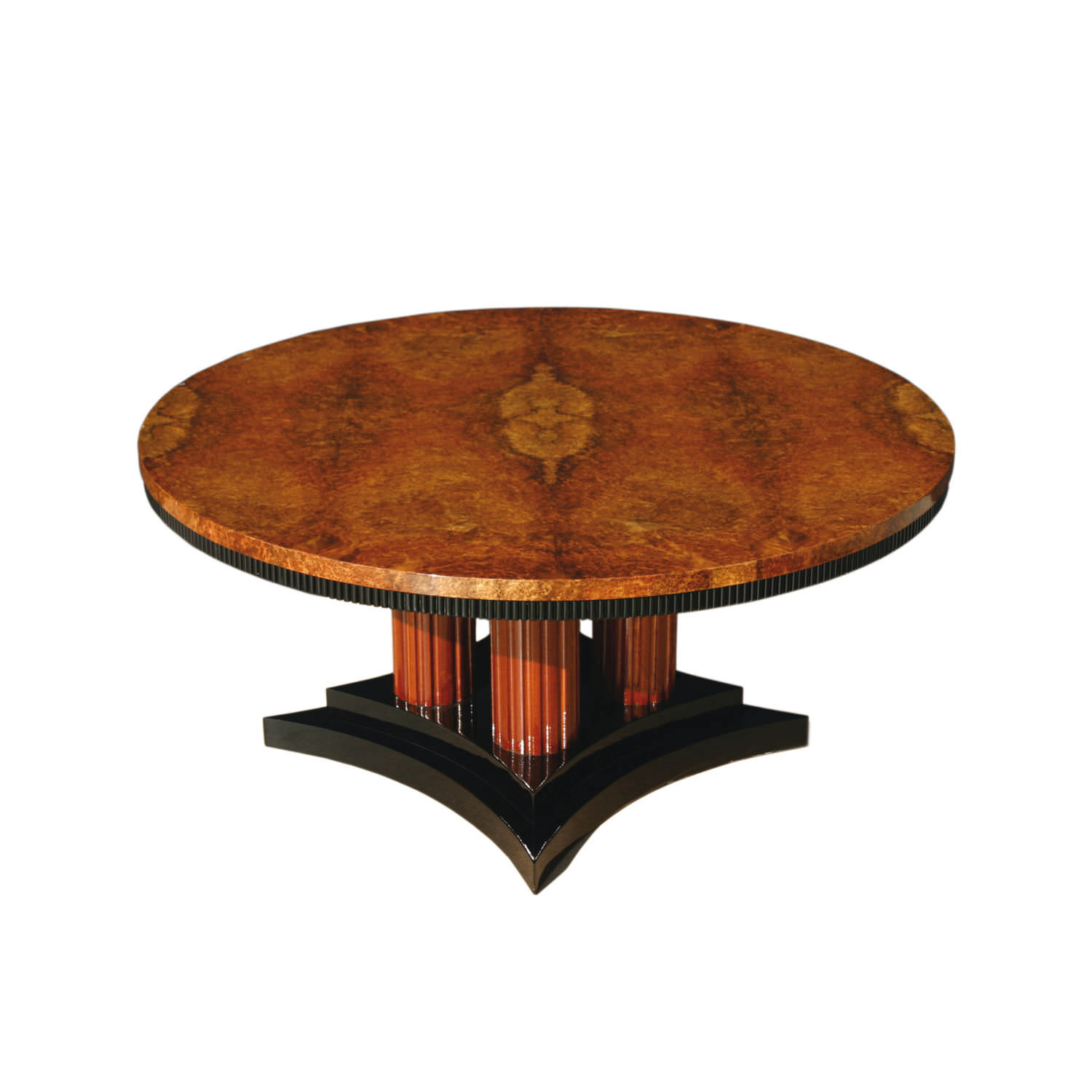Art Deco Coffee Table Wooden Glossy Varnished Wood Round Ct004