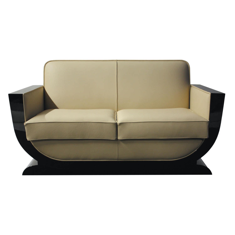 Art Deco Sofa Leather Wood Fabric Sf085