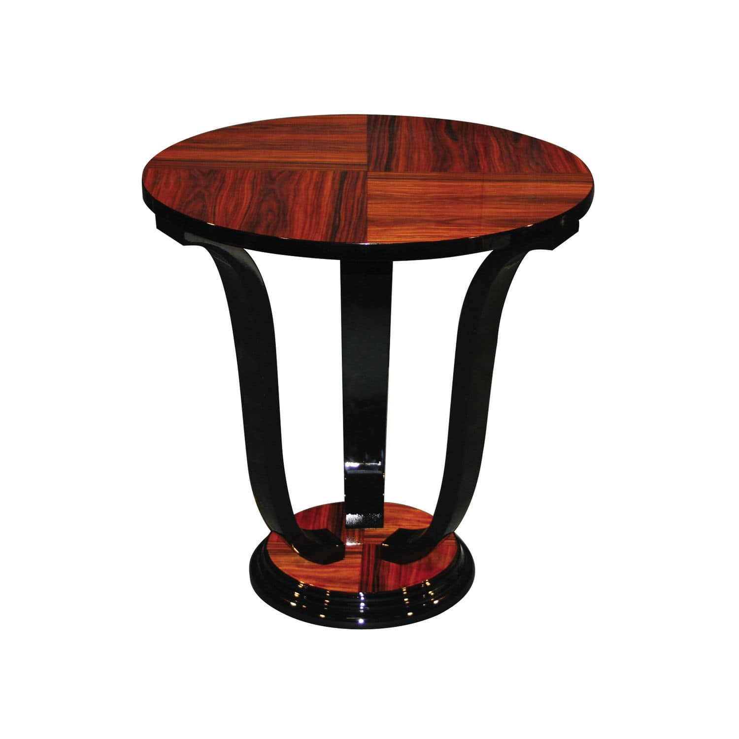 Art Deco Side Table / Rosewood / Glossy Varnished Wood / Round   BS006