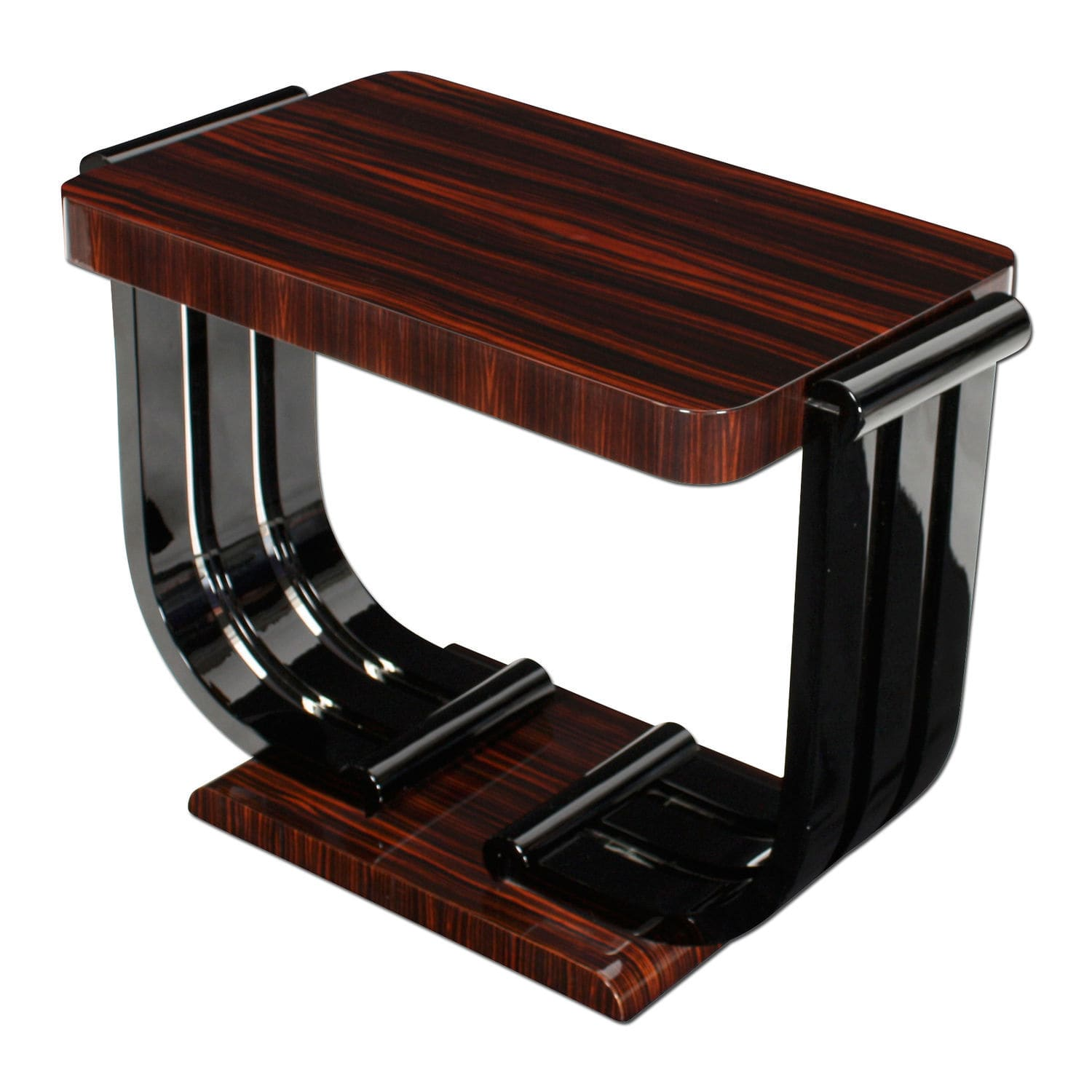 Art Deco Side Table / Macassar Ebony / Glossy Varnished Wood / Rectangular  BS051 Cygal Art ...