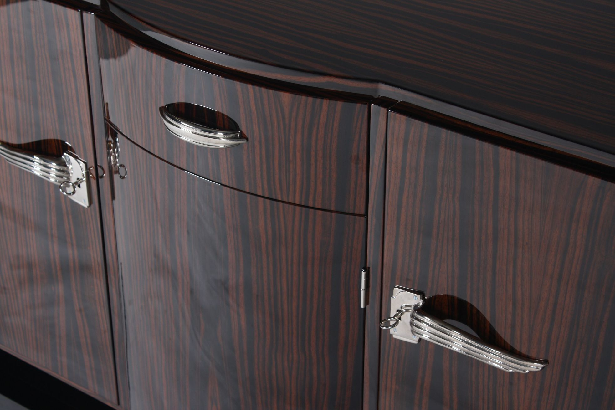 Art Deco Sideboard / Macassar Ebony / Glossy Lacquered Wood
