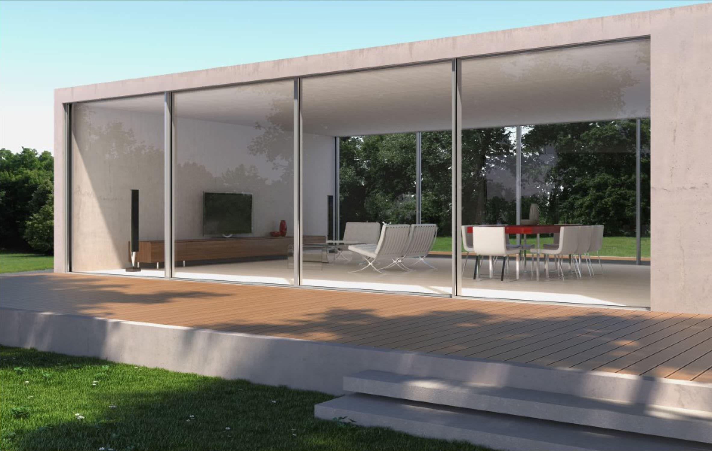 Sliding patio door aluminum triple glazed FLUO Aldena