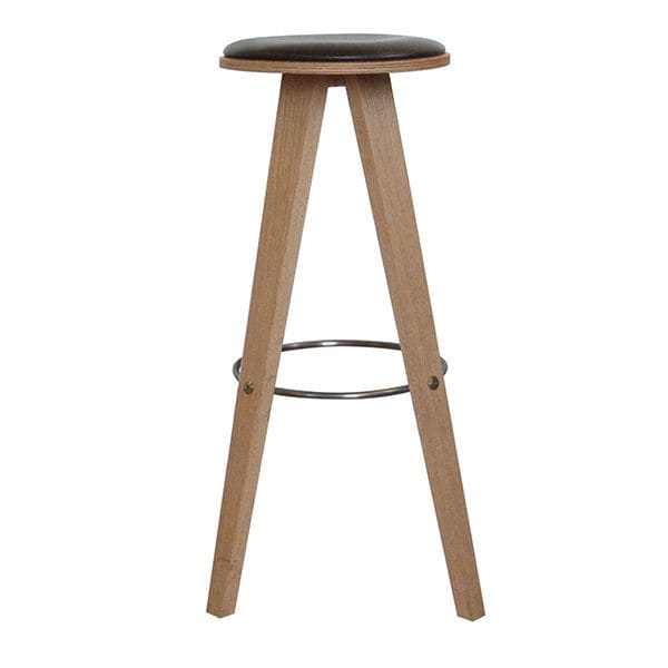 Scandinavian Design Bar Stool Oak Leather Commercial Viggo By Mencke Vagnby