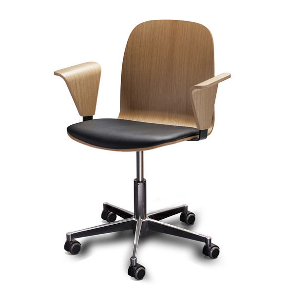 Scandinavian Design Office Chair / With Armrests / Upholstered / On Casters    BOSTON By Erik Jørgensen