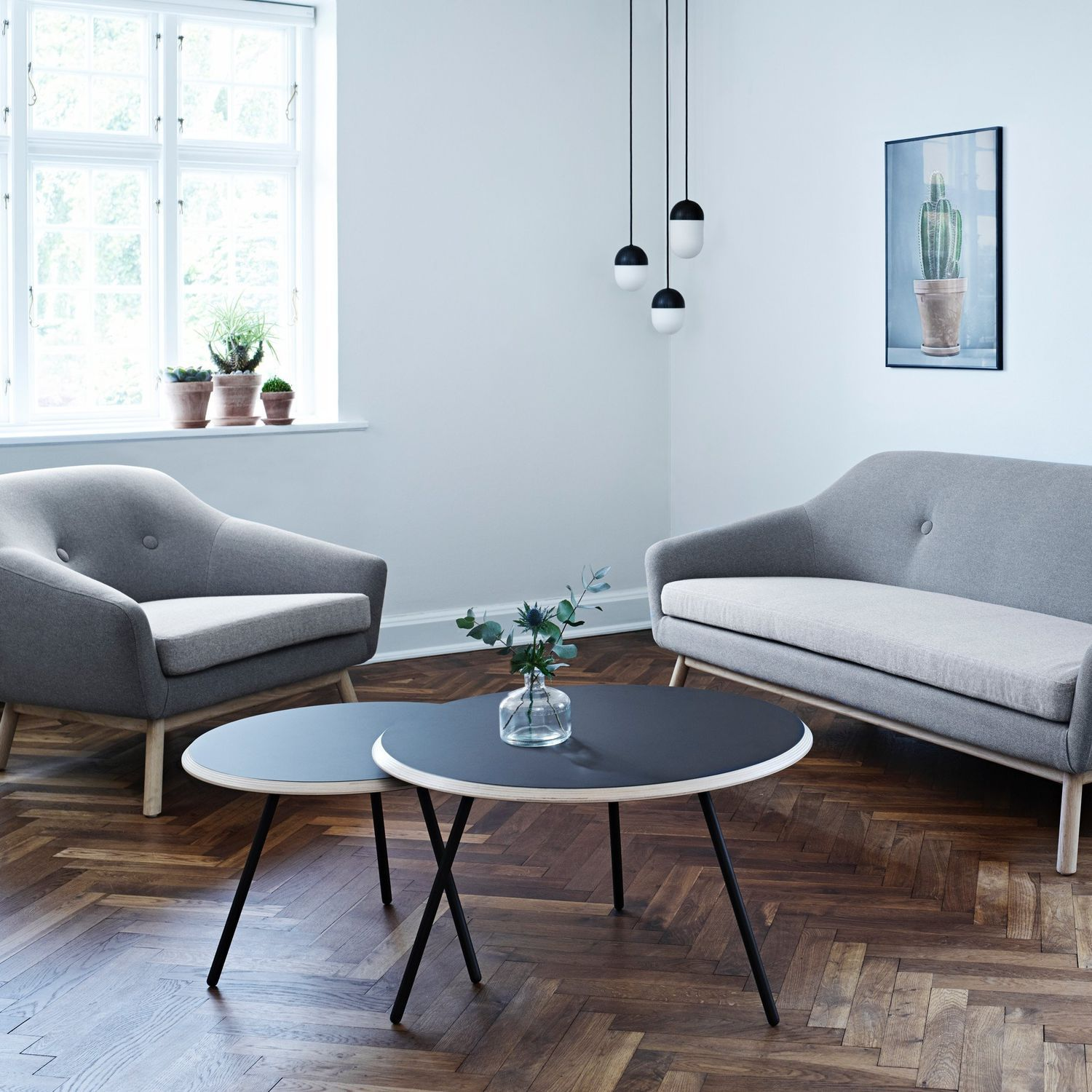 Scandinavian design coffee table metal concrete plywood