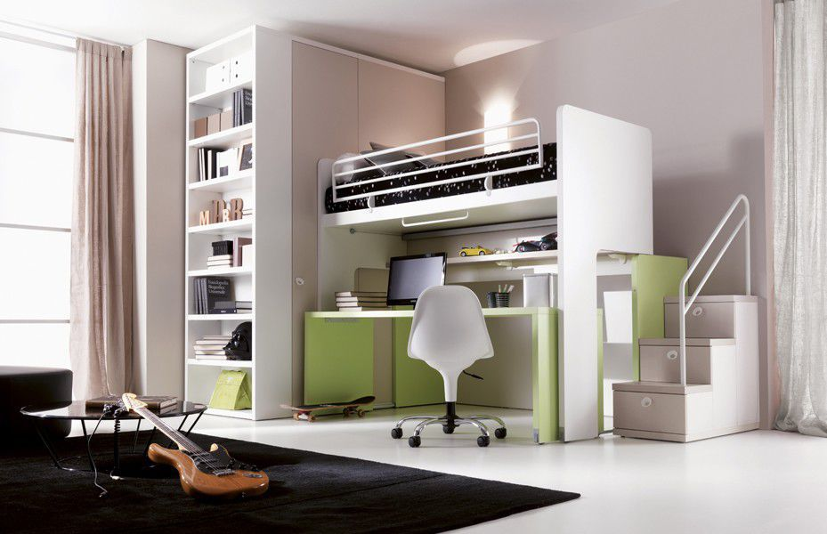 Loft bed / single / contemporary / with writing desk ...