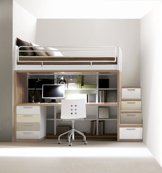 Loft bed / single / contemporary / with writing desk - COMPOSIZIONE ...