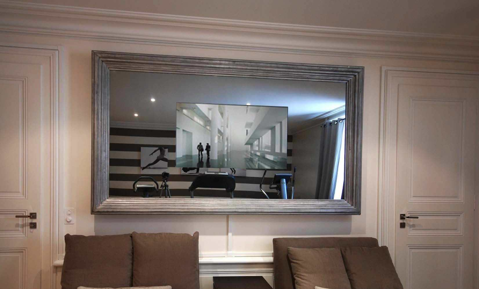 Wall Mounted Tv Mirror Living Room Baroque Rectangular