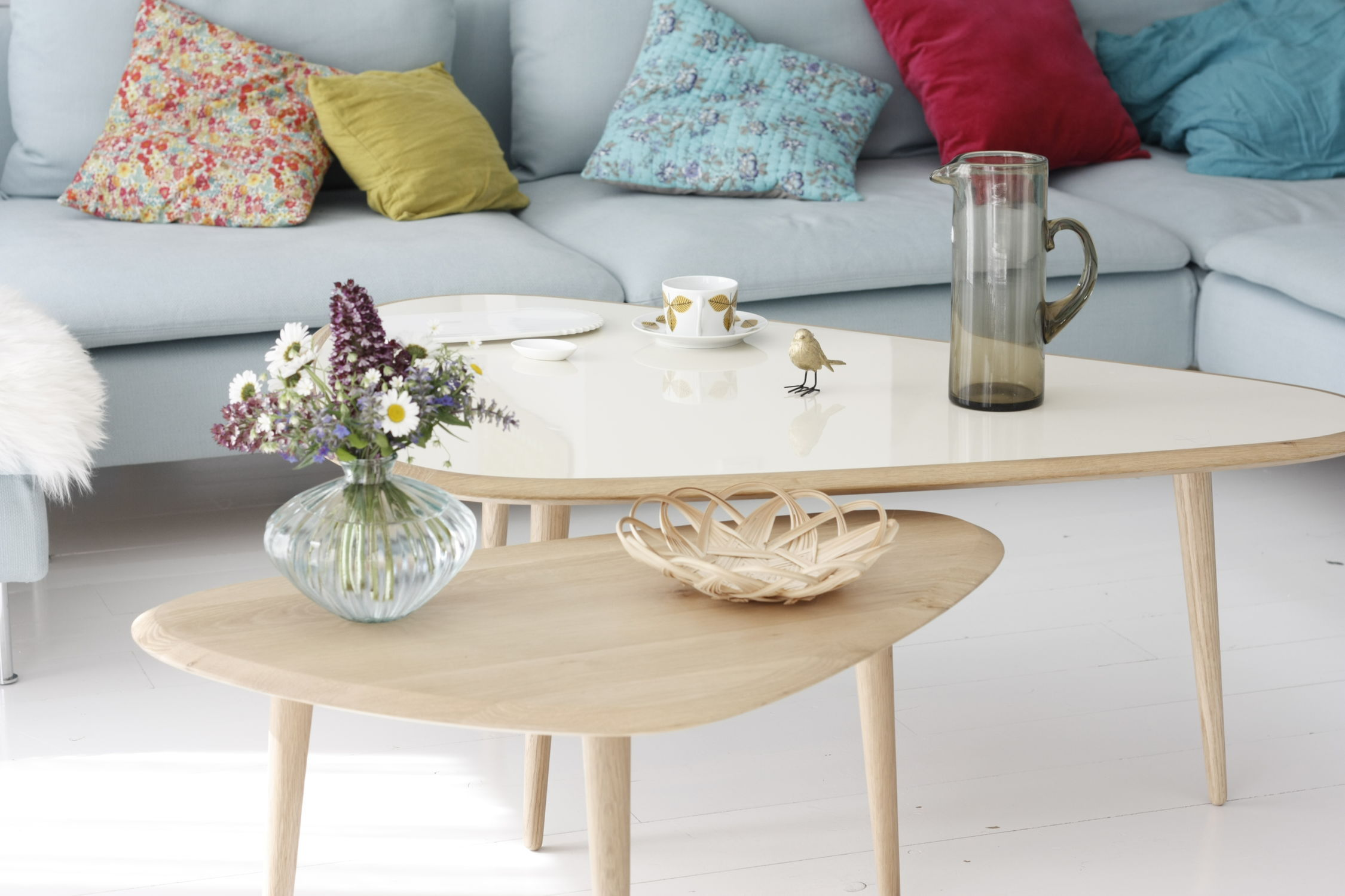 Scandinavian design coffee table oak lacquered wood