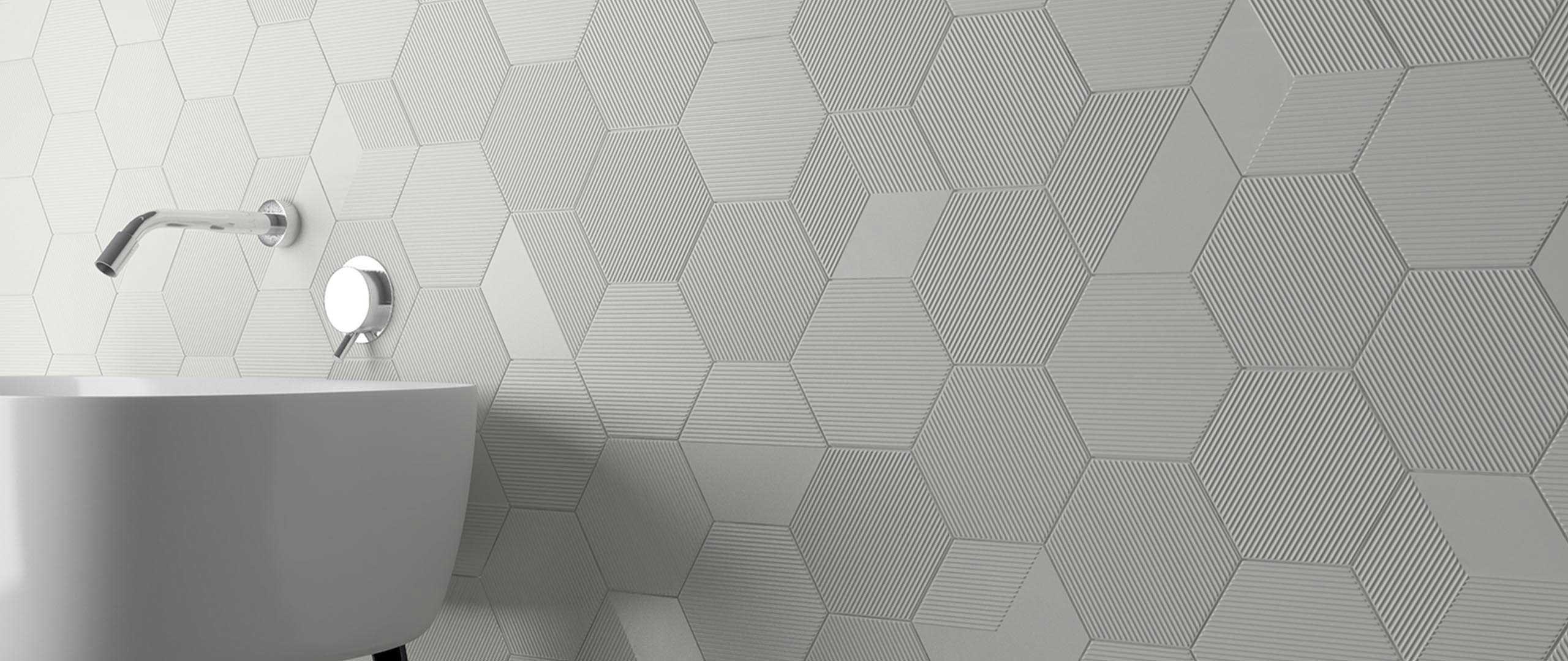 hexagonal tile indoor wall ceramic mini hexa canale wow design eu