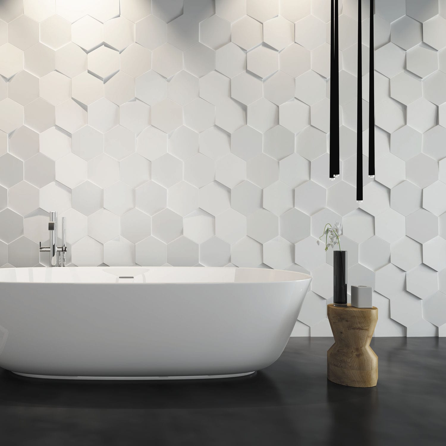 Bathroom tile / wall / ceramic / textured HEXA WOW Design EU .
