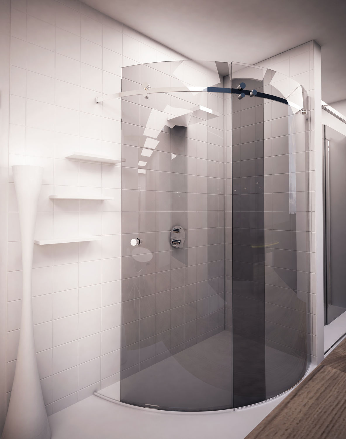 Walk-in shower enclosure / curved glass / stainless steel / corner ...