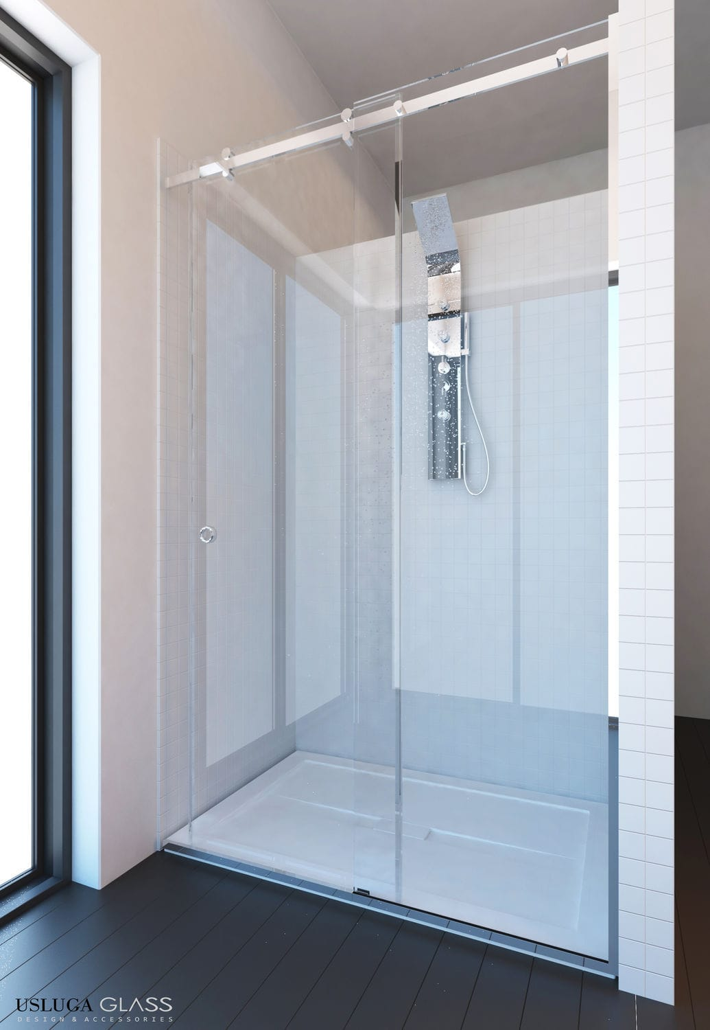 Glass shower cubicle / rectangular / with sliding door - GLORY ...