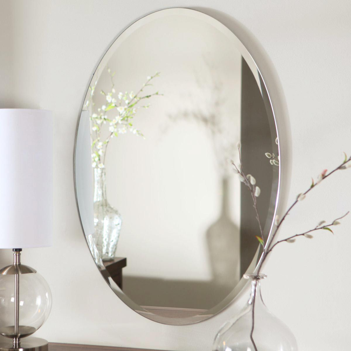 Wall Mounted Mirror Contemporary Oval Rectangular