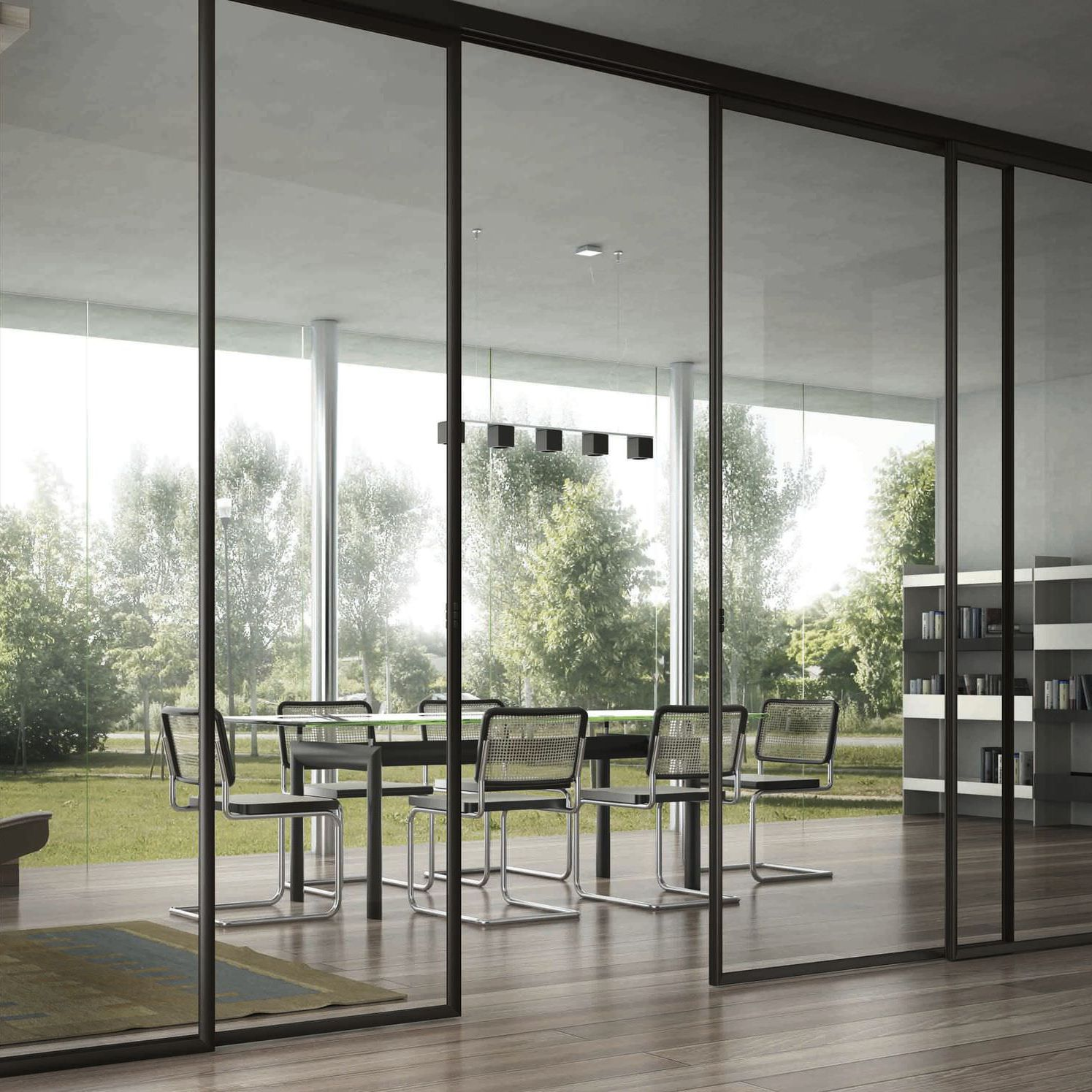 Sliding Partition Glazed For Offices Professional Usluga Glass