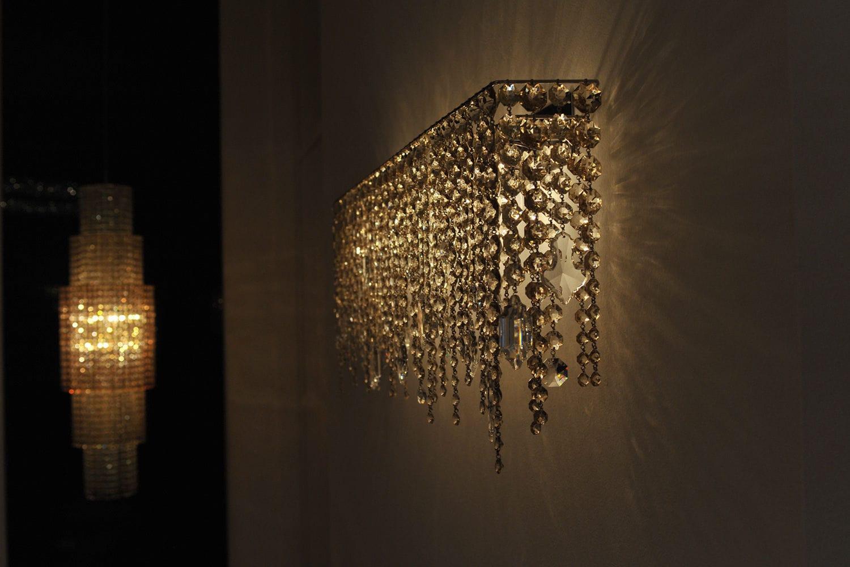 Contemporary wall light crystal halogen ip20 ariel applique