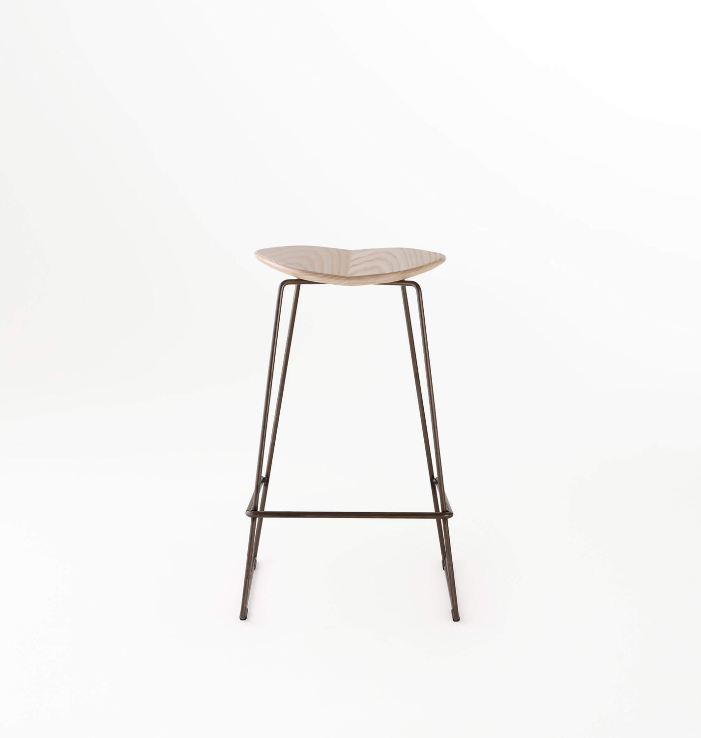 Contemporary Bar Stool Ash Metal Upholstered Duet Ross Gardam