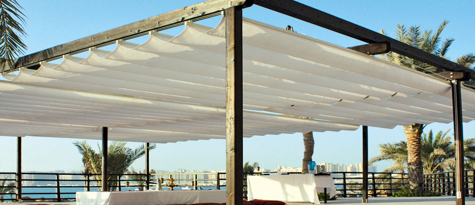 ... wall-mounted pergola / self-supporting / metal / fabric sliding canopy - Wall-mounted Pergola / Self-supporting / Metal / Fabric Sliding