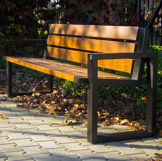 Public bench / contemporary / wooden / stainless steel - SOFA 02.008