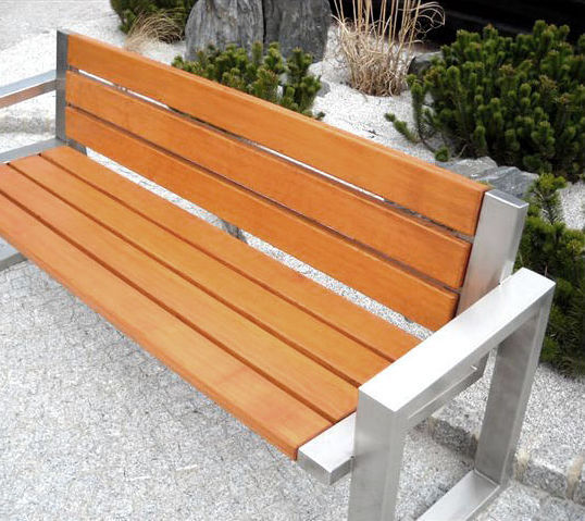 ... Public bench / contemporary / wooden / stainless steel SOFA 02.008 ZANO  Street Furniture ...